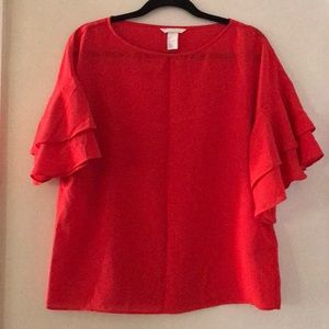 Salsa-inspired top with ruffle tier sleeves